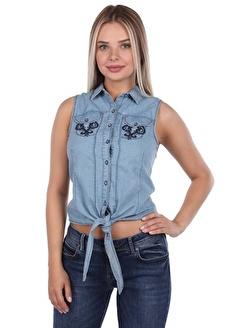 BLUE WHİTE Bağlamalı Kadın Jean Gömlek